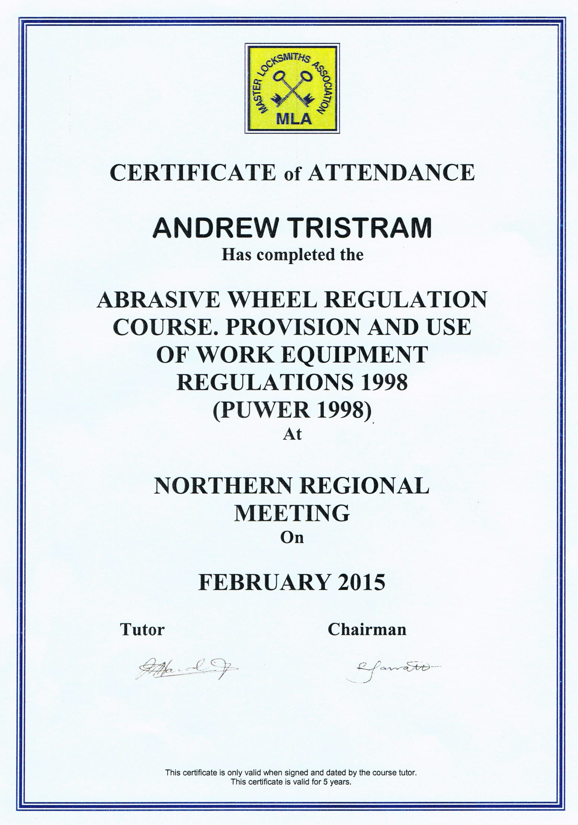 company training certificate