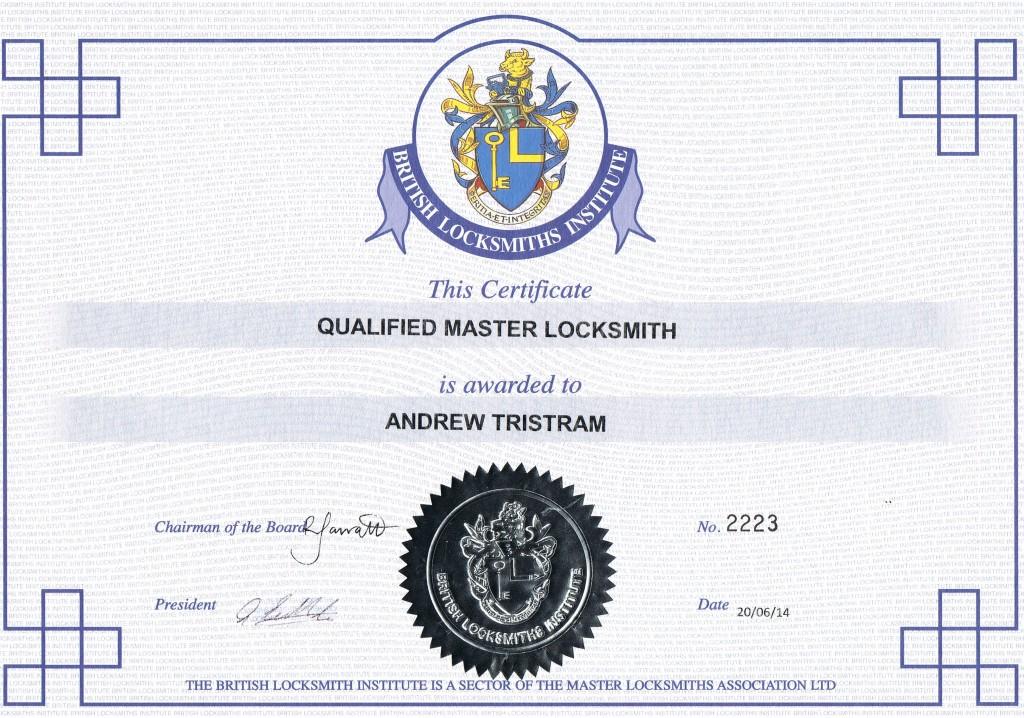 Master Locksmith Certificate