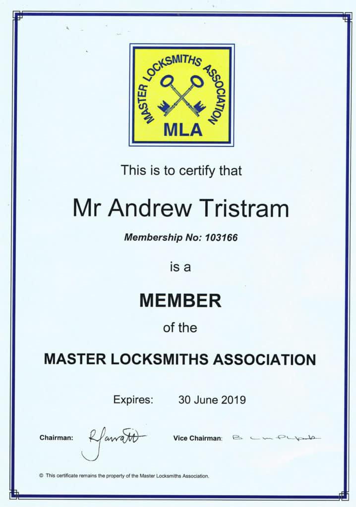 Certification - Key Door Solutions Locksmith